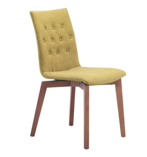 1960s Button Tufted Dining Chairs, Tobacco