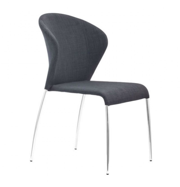 Graphite Upholstered Chrome Legs Retro Dining Chair