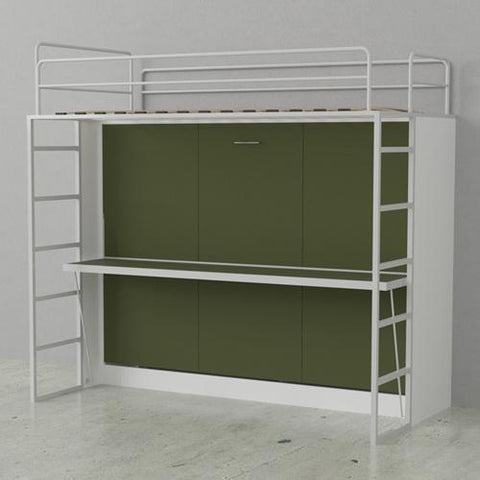 Leto Muro Abel Double Bunk White Wall Bed Green Doors