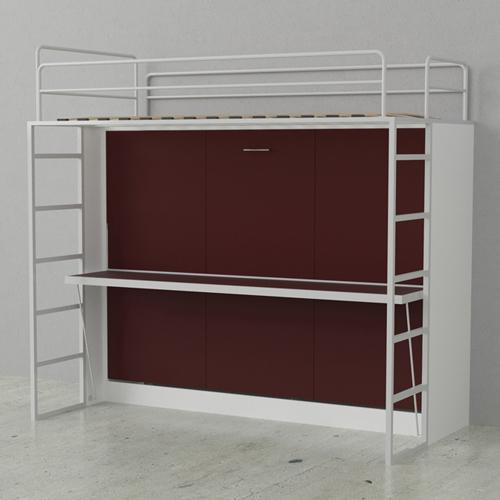 Leto Muro Abel Double Bunk White Wall Bed Red Doors