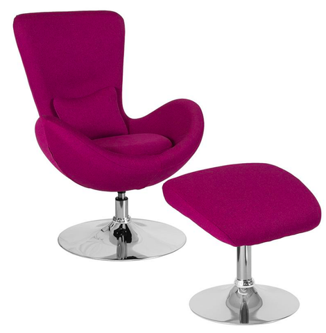 Flash Furniture Egg Series Magenta Upholstery Fabric Chair Ottoman