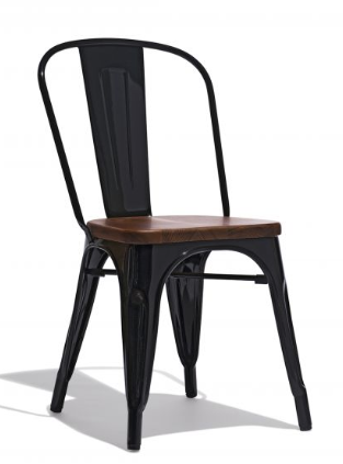 Tolix Style Restaurant Chair Black Metal