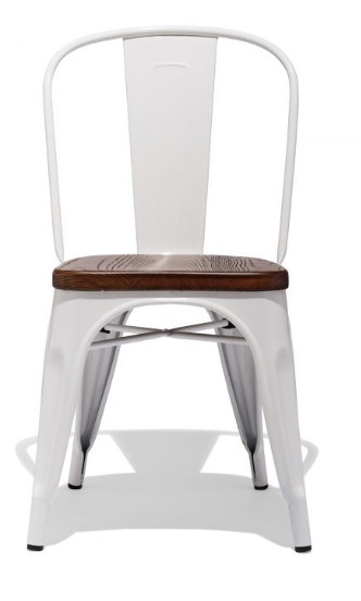 Tolix Style Restaurant Chair White Metal