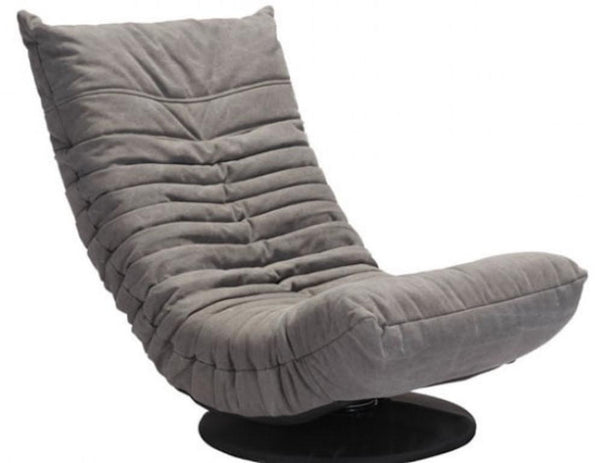Zuo Modern Down Low Tufted Upholstered Gray Swivel Lounge Chair