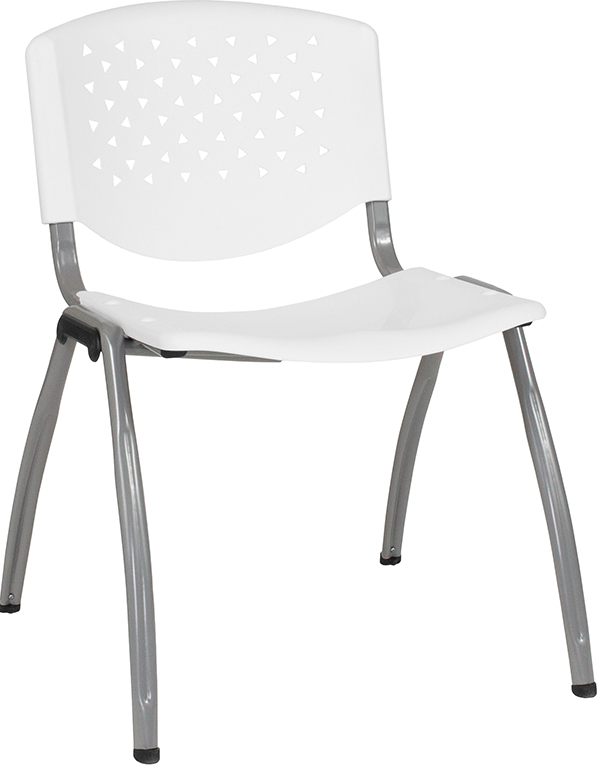 Flash Furniture Hercules Series 880 lb White Plastic Stackable Chair