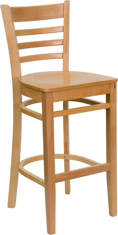 Flash Furniture Ladder Back Bar Chair, Natural Solid Wood
