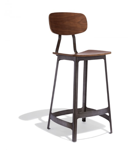 Best Modern Farmhouse Bar Stool Gunmetal Wood Seat
