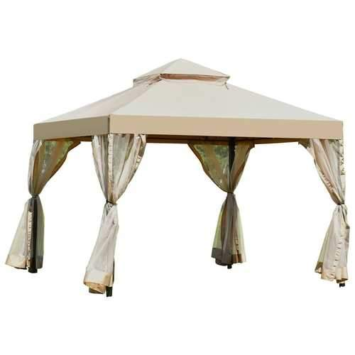 10ft x 10ft Steel Gazebo Canopy with Mosquito Netting Tan/Brown