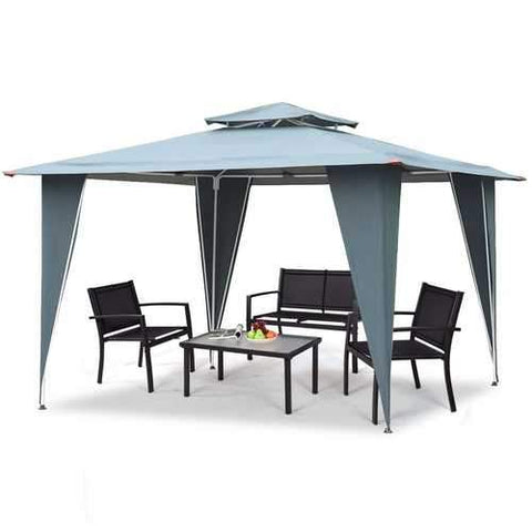 11.5ft x 11.5ft Steel Gazebo Canopy Awning Tent Gray
