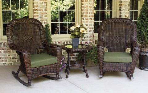 Sea Pines Outdoor Rocking Chairs With Side Table 3-Piece Set