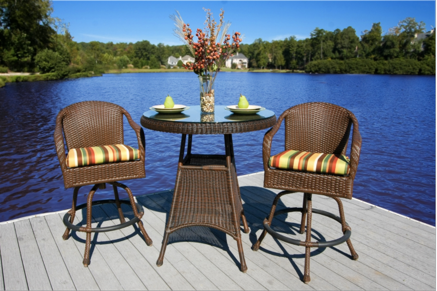 Sea Pines 3 Piece Bar Set Wicker Outdoor Patio Furniture