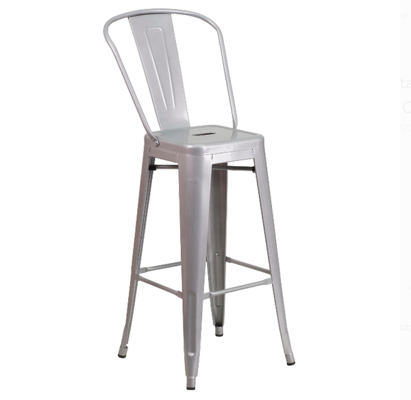 "Flash Furniture 30"" Curved Back Vertical Slat Metal Bar Stool Silver"