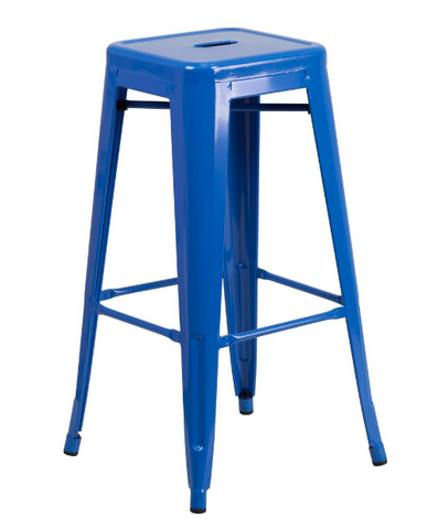 "Flash Furniture 30"" Blue Metal Bar Stool Backless Galvanized Steel"