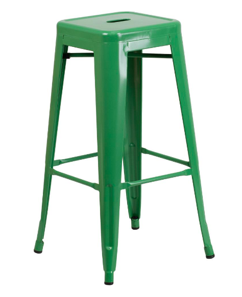 "Flash Furniture 30"" Green Metal Bar Stool Backless Galvanized Steel"