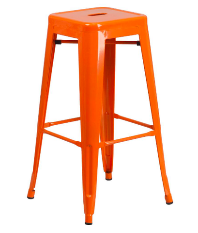 "Flash Furniture 30"" Orange Metal Bar Stool Backless Galvanized Steel"