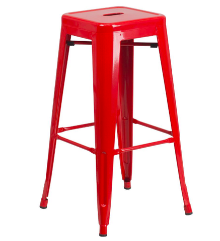 "Flash Furniture 30"" Red Metal Bar Stool Backless Galvanized Steel"