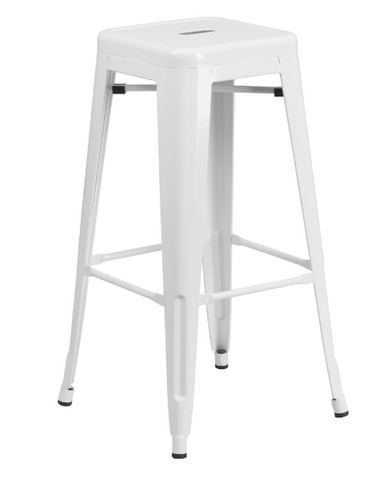 "Flash Furniture 30"" White Metal Bar Stool Backless Galvanized Steel"