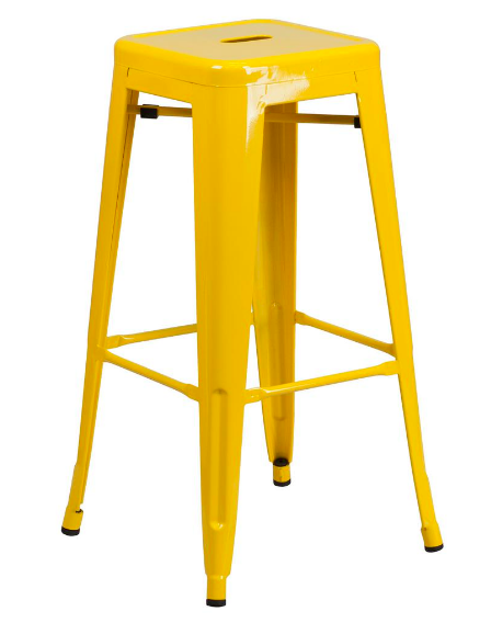 "Flash Furniture 30"" Yellow Metal Bar Stool Backless Galvanized Steel"