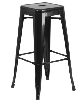"Flash Furniture 30"" Black Metal Bar Stool Backless Galvanized Steel"