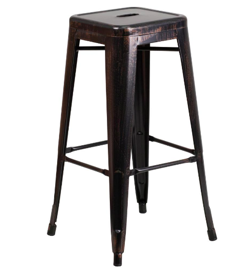 "Flash Furniture 30"" Black Antique Gold Metal Bar Stool Backless"