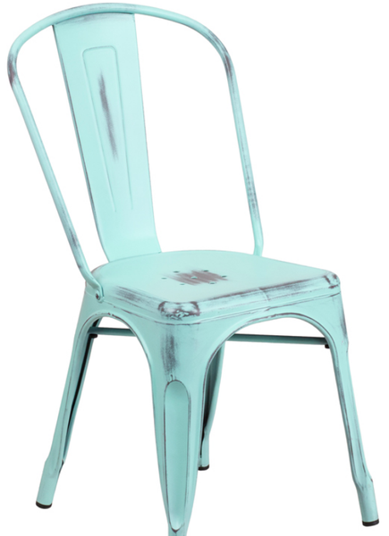 Distressed Green Blue Metal Bistro Chair For Sale Online Furniture Store