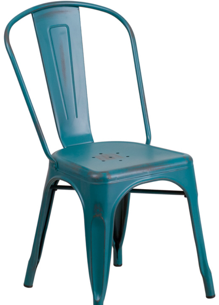 Distressed Teal Blue Metal Bistro Chair For Sale Online Furniture Store