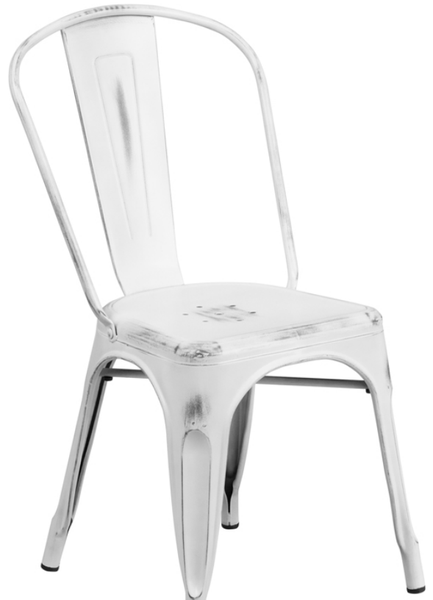 Distressed White Metal Bistro Chair For Sale Online Furniture Store