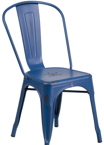 Distressed Blue Metal Bistro Chair For Sale Online Furniture Store