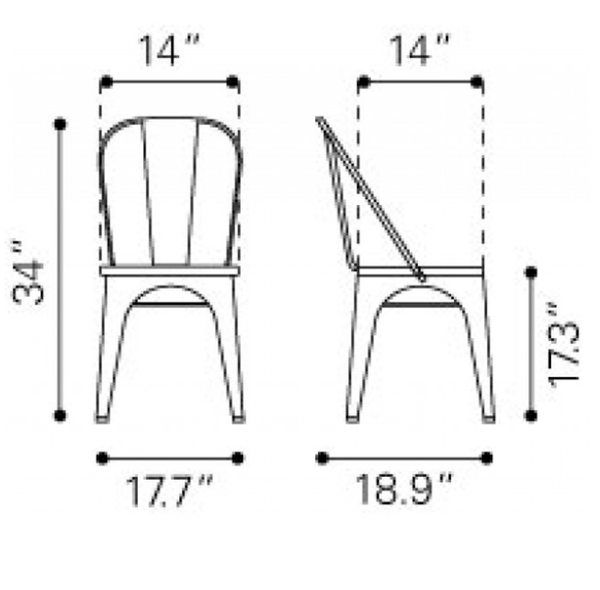 Rose Gold Metal Chair Dimensions