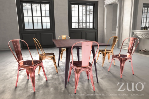 Rose Gold Metal Chair | Modern Dining Room Kitchen Furniture