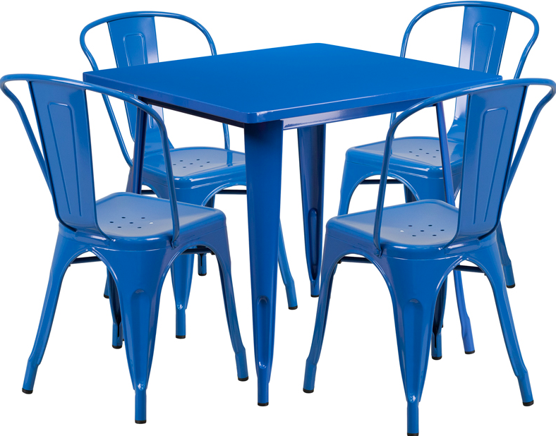 Flash Furniture 31.5 Square Blue Metal 5 Piece Table Set