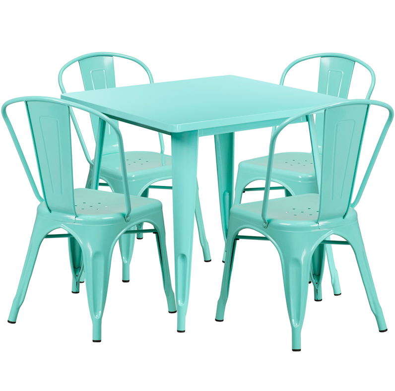 Flash Furniture 31.5 Square Mint Green Metal 5 Piece Table Set
