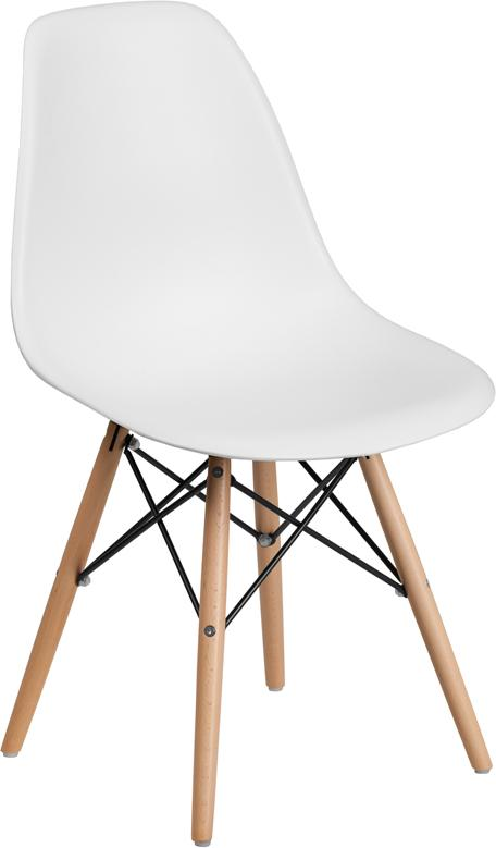 White Curved Back Plastic Chair With Wooden Legs