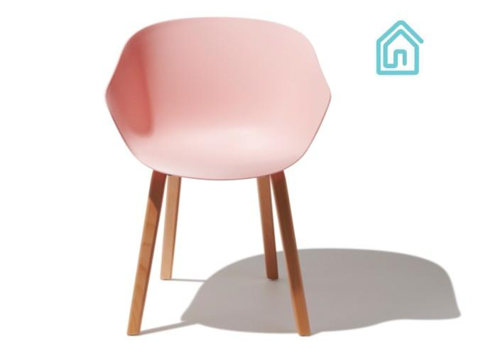 $249 Mid Century Modern Pink Chair With Shell Shaped Seat