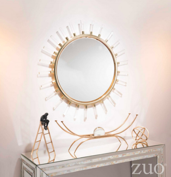 Zuo Modern Contemporary Gold Sunburst Mirror Brilliant Home Decor