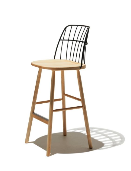 Italian Wood Bar Stools With Black Metal Back Online Furniture Sale