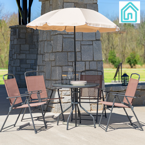 Nantucket 6 Piece Patio Set With Umbrella Brown Fabric Chairs