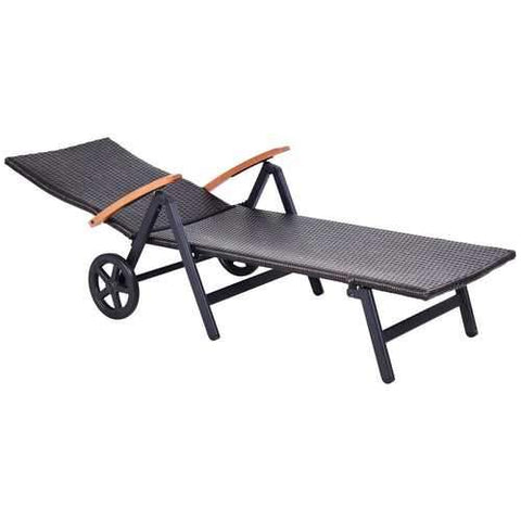 Folding Back Adjustable Aluminum Rattan Recliner Lounger w/ Wheels