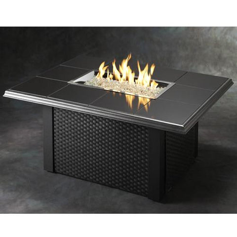 Granite Tile Wicker Base Fire Pit Table Outdoor Patio Furniture
