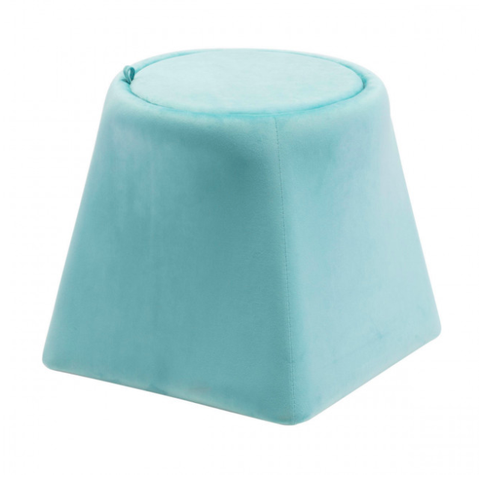 Ottoman With Storage Lid | Trapezoid Shaped Light Blue Velvet