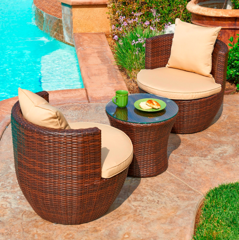 W Unlimited Perry 3 Piece Patio Set All Weather Wicker Chairs