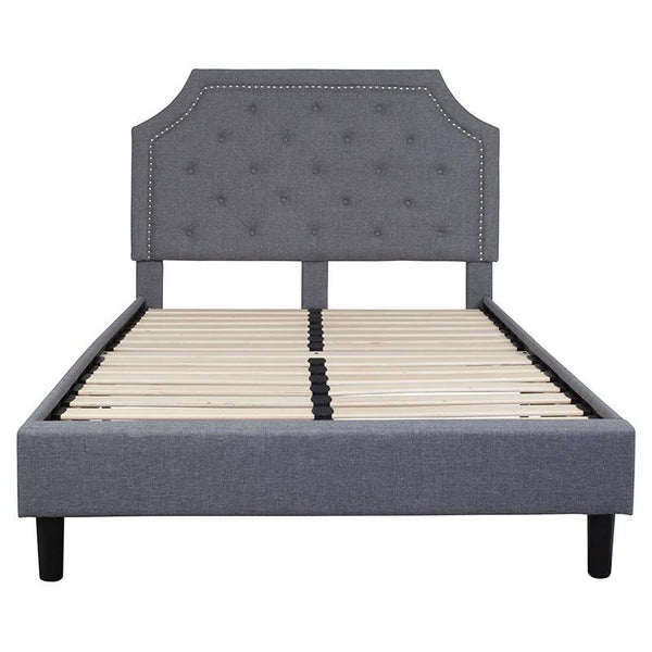 Flash Furniture Brighton Light Gray Upholstered Full Size Platform Bed