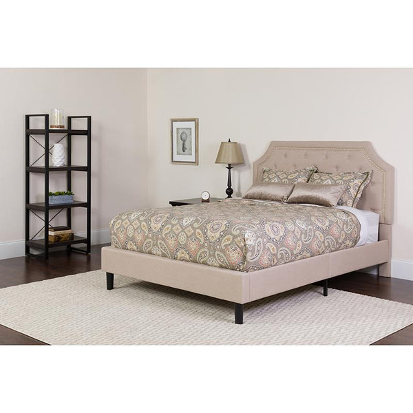 Flash Furniture Brighton Twin Size Beige Tufted Platform Bed