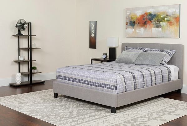 Flash Furniture Chelsea King Size Platform Bed With Headboard, Gray