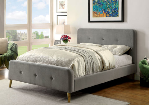 Furniture of America Neva Upholstered Queen Bed With Headboard Gray