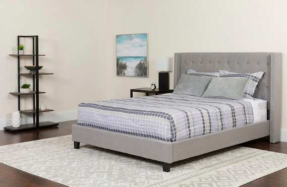 Flash Furniture Riverdale King Size Tufted Light Grey Platform Bed