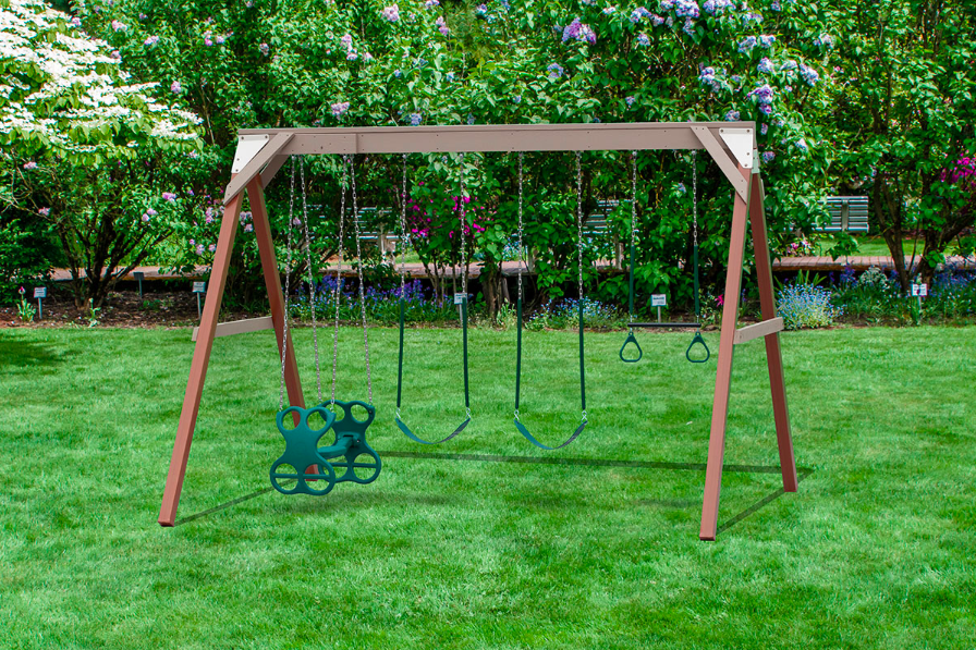 Play Mor Summer Playtime Wooden Swing Set