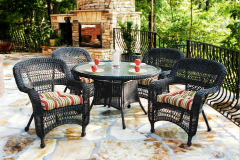 Outdoor Dining Table Chairs 5 Piece Set Wicker Outdoor Patio Furniture