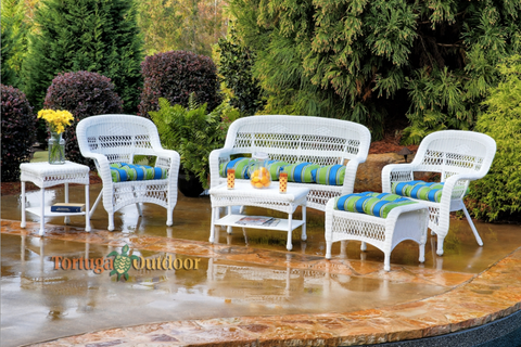 Outdoor Patio Furniture Set White All Weather Wicker