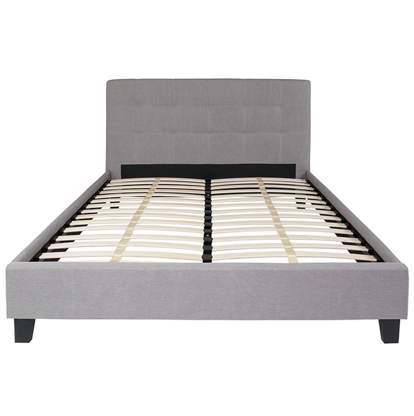 Flash Furniture Chelsea Queen Size Light Grey Platform Bed Headboard
